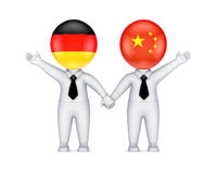 German-Chinese cooperation concept. Isolated on white background.3d rendered Stock Photography