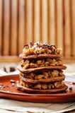 German chocolate pancakes with coconut and chocolate Royalty Free Stock Photography