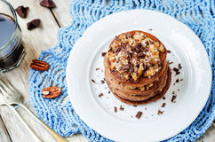German chocolate pancakes with coconut and chocolate Stock Images