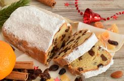 German christmas bread with rosins Stock Photography