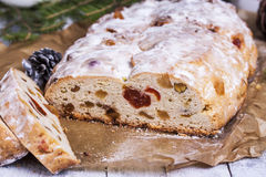 German Christmas cake Stollen with dry fruits and nuts royalty free stock photo