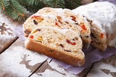 German Christmas cake Stollen with dry fruits and nuts horizonta Stock Image