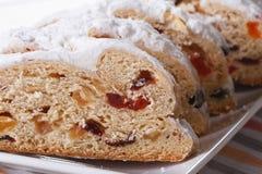 German Christmas fruit bread Stollen sliced, macro Royalty Free Stock Images