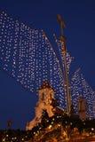 German christmas market. (lights and church Stock Photography