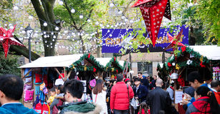 German Christmas Market Shoppers Stock Images