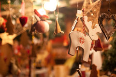 German Christmas Ornaments. Christmas ornaments for sale in a German Christmas Market Royalty Free Stock Image