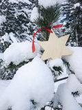 German christmas tree with homemade ornaments rr Royalty Free Stock Photography