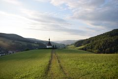 German church surrounded by nature stock photo