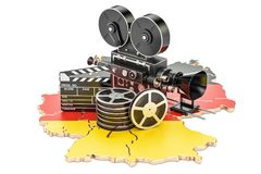 German cinematography, film industry concept. 3D rendering. Isolated on white background Royalty Free Stock Image