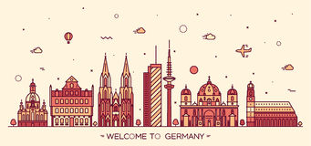 German cities vector illustration linear style Royalty Free Stock Images