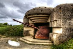 The German coast battery of Longues-sur-Mer, Normandie, France royalty free stock photography