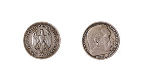 German coin reichs mark hindenburg vintage. German coins reichs mark hindenburg vintage deutsch Stock Photo