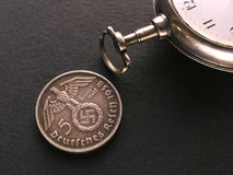 German Coin and Watch Royalty Free Stock Photography
