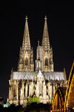 German Cologne Cathedral in the night Royalty Free Stock Images