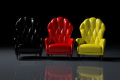 German color armchairs. Vintage German color armchairs on black background Vector Illustration