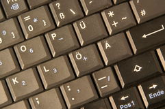 German computer keyboard. Letters and symbols on German computer or notebook keyboard royalty free stock photos