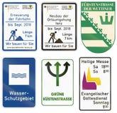 German construction site information sign - Renovation of surface until septemter 2018 - Length 8 km - We build for you.  Royalty Free Stock Images