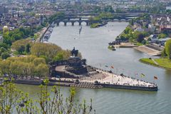 German Corner Deutsches Eck in Koblenz. The confluence of the Moselle and Rhine. royalty free stock photography