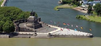 German Corner (Deutsches Eck) in Koblenz, Germany. Koblenz, equestrian statue of William the Great on the German Corner (Deutsches Eck) at the confluence of Stock Image