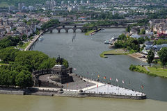 German Corner (Deutsches Eck) in Koblenz, Germany. The German Corner (Deutsches Eck) at the confluence of Rhine and Mosel rivers in Koblenz with equestrian Stock Photos
