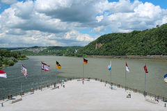 German Corner (Deutsches Eck) in Koblenz, Germany. The German Corner (Deutsches Eck) at the confluence of Rhine and Mosel rivers in Koblenz, Germany Stock Image
