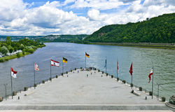 German Corner in Koblenz. The German Corner (Deutsches Eck) is the name of a headland in Koblenz where the Moselle joins the Rhine and a symbol of German unity Stock Photography