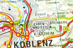 German Corner on map, Koblenz, Rhineland-Palatinate royalty free stock images