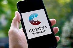 Free German Corona Warn App On A Mobile Device Display Royalty Free Stock Image - 195666396