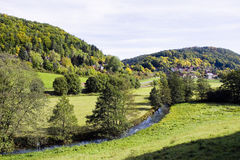 German countryside. Countryside with the river trubach near erlangen, germany Royalty Free Stock Photography