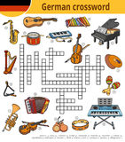 German crossword, education game for children, musical instruments. Vector german crossword, education game for children about musical instruments Royalty Free Stock Photos