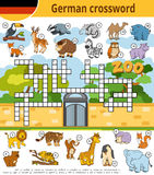 German crossword, education game for children about zoo animals. Vector german crossword, education game for children about zoo animals Stock Photo