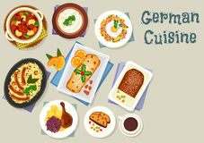 German cuisine Christmas dishes for dinner icon Stock Image