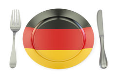 German cuisine concept, plate with flag of Germany. 3D rendering Stock Image