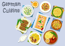 German cuisine dinner with beer and dessert icon Stock Images