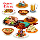 German cuisine dinner with beer and sausage icon. German cuisine traditional beer, sausage and wurst icon, served with potato salad, bacon soup with pretzel Royalty Free Stock Photography