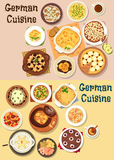 German cuisine dinner icon set for menu design Stock Photography