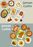 German cuisine festive dinner icon set design. German cuisine festive dinner icon set of cabbage stew with pork sausage, potato bacon salad, baked goose, sweet Stock Photo