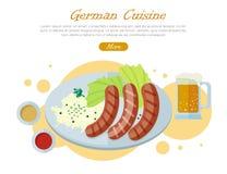 German Cuisine Flat Design Vector Web Banner Stock Photos