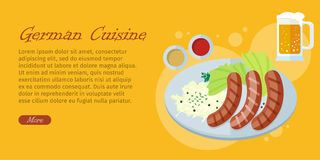 German Cuisine Flat Design Vector Web Banner Royalty Free Stock Photography