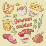 German Cuisine Food Doodle with Sausages and Pork Stew. Hand Drawn illustration Royalty Free Stock Photography