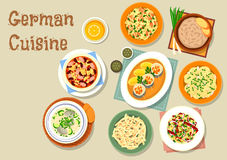 German cuisine icon with bavarian dishes. German cuisine bavarian dishes icon of pork and sauerkraut salad, vegetable sausage salad, fish soup, potato salad Stock Photography