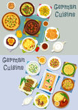 German cuisine lunch icon set with meat dishes. German cuisine lunch icon set. Vegetable meat stew with beer, vegetable sausage casserole, bacon cheese pie, fish Royalty Free Stock Image