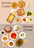 German cuisine meat dishes with dessert icon set Royalty Free Stock Image