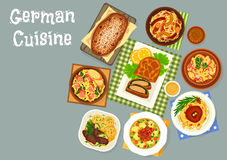 German cuisine meat and fish dinner dishes icon. German cuisine dinner icon of cabbage and sauerkraut dishes with sausage and pork hock, potato salad with bacon stock illustration