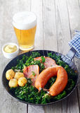 German Cuisine with Mustard and Beer on Side Royalty Free Stock Photos