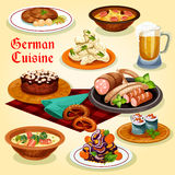 German cuisine national dishes cartoon icon Stock Images
