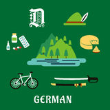 German culture and history flat icons Royalty Free Stock Photos