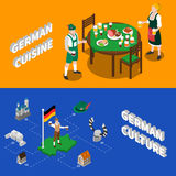 German Culture For Tourists Isometric Banners. German culture for tourists 2 isometric banners with traditional national cuisine dishes and sightseeing abstract Stock Photo