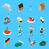 German Culture Traditions Isometric Icons Collection. German culture traditions and national cuisine dishes for travelers with beer and sausage abstract  vector Stock Photo
