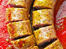German currywurst. Close up of german currywurst Royalty Free Stock Photo